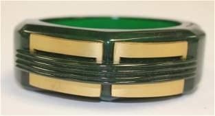 Vintage Bakelite green hinged Art Deco bracelet w brass