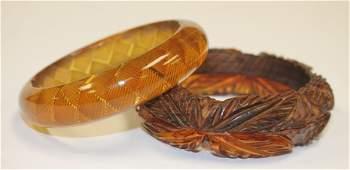 2 Vintage Bakelite bangles - 1 carved w applied wood