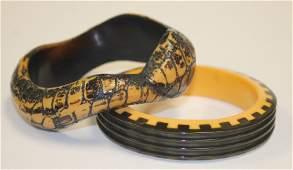 2 Vintage Bakelite bangle bracelets  1 in snake form