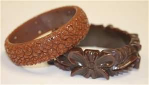 """2 Vintage Bakelite carved brown bangle bracelets - 3"""" -"""