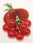 """Vintage Bakelite dangling cherries pin - 1 1/2"""" x 1"""