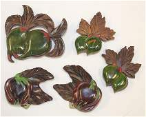 lot of 5 Vintage Bakelite & wooden carved fruit pin & 2
