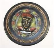 Vintage Bakelite ebony pin w layered Egyptian face