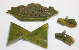 lot of 4 Vintage Bakelite green marble items incl pr of
