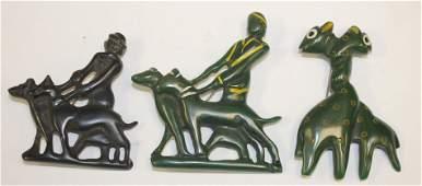 lot of 3 Vintage Bakelite pins incl 2 figural w