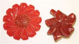 2 Vintage Bakelite red carved floral pins incl 1 brass