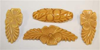 lot of 4 Vintage Bakelite carved floral pins & clips -