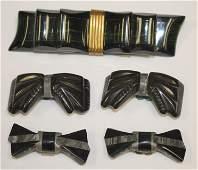 lot of 5 Vintage Bakelite ebony bow form items incl 2
