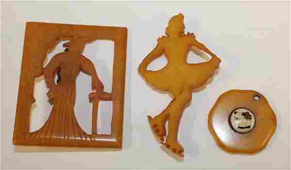 lot of 3 Vintage Bakelite pins incl a figure skater -