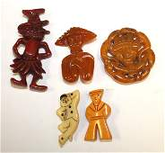 lot of 5 Vintage Bakelite figural pins & clips -