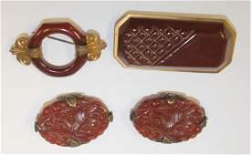 lot of 4 Vintage Bakelite reddish brown items incl pr