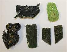 lot of 6 Vintage Bakelite carved green floral pin &