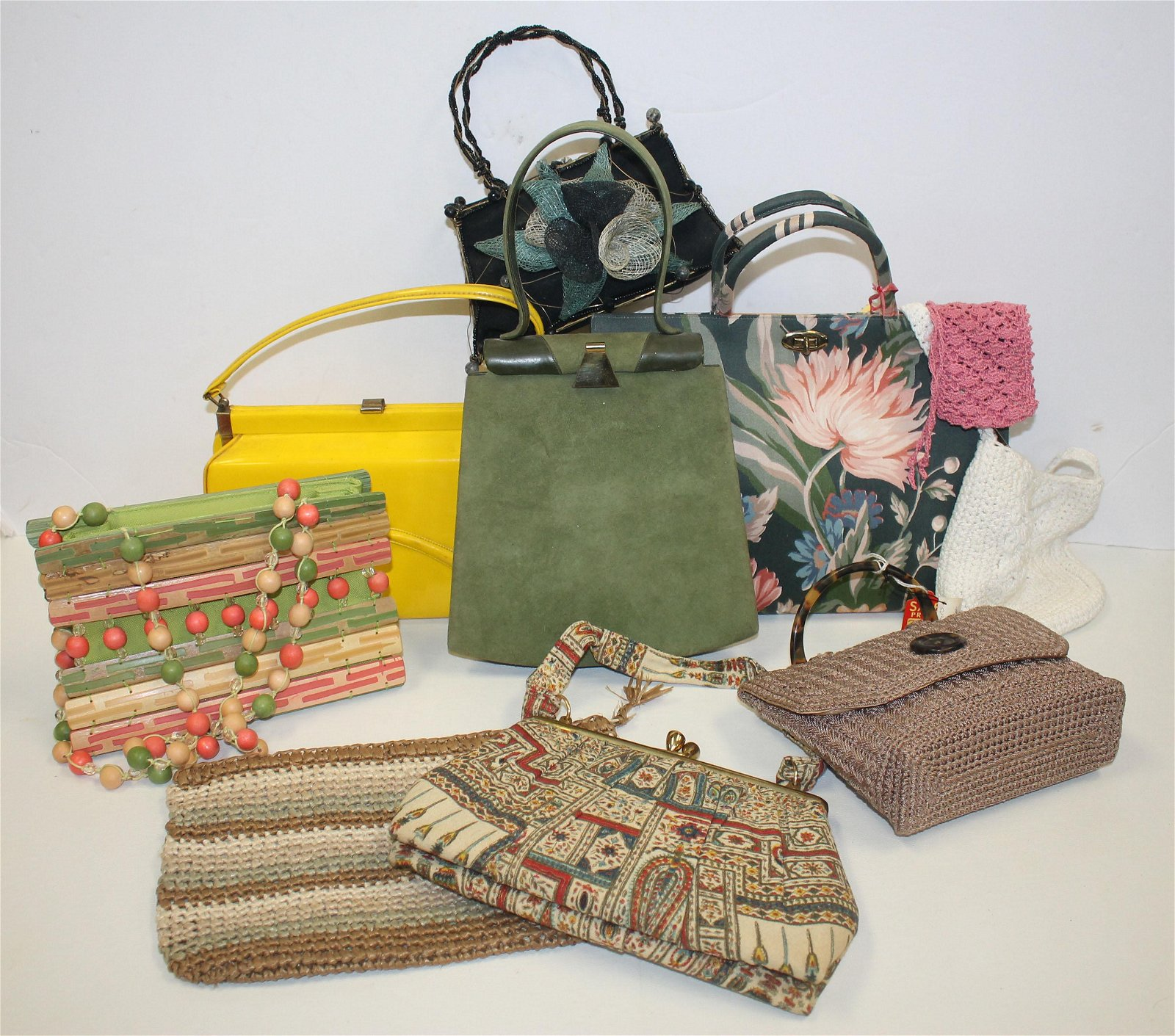 large lot of vintage purses incl patent leather,
