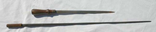 1008: 19th C sword cane blade & knife made from sword c