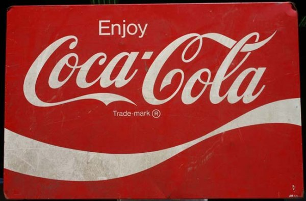 "1016: Lg 24 ½"" x 36"" tin Coca Cola sign"