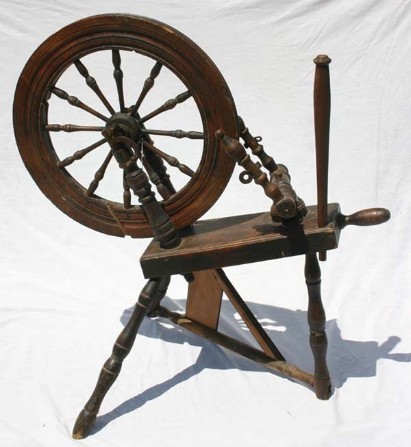 "5A: antique spinning wheel - 34 1/4"" tall"