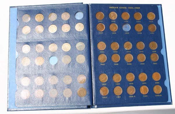 10A: Indian cent coin album 1856-1909 - near complete -