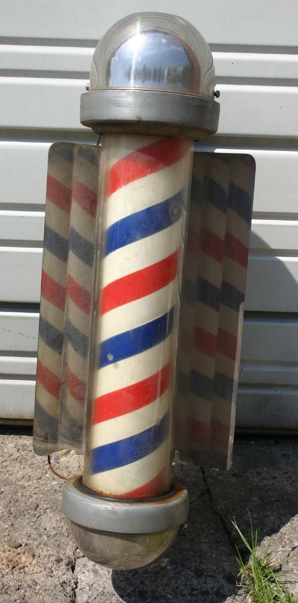 "19: antique electrified Barber Pole - 23 1/2"" tall"