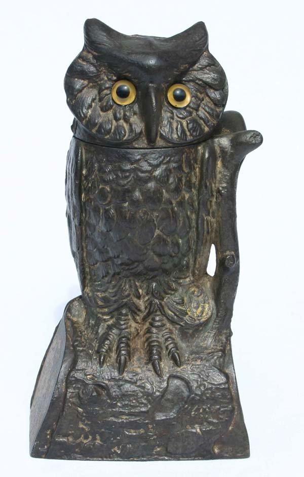 "5: antique cast iron mechanical bank ""Owl"" w glass eyes"