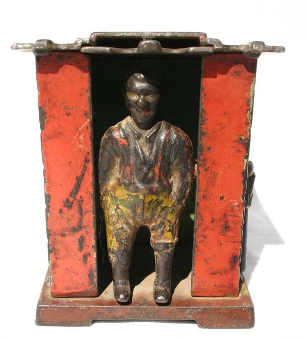 """9: antique cast iron mechaical bank """"Darky in Cabin"""" ca"""