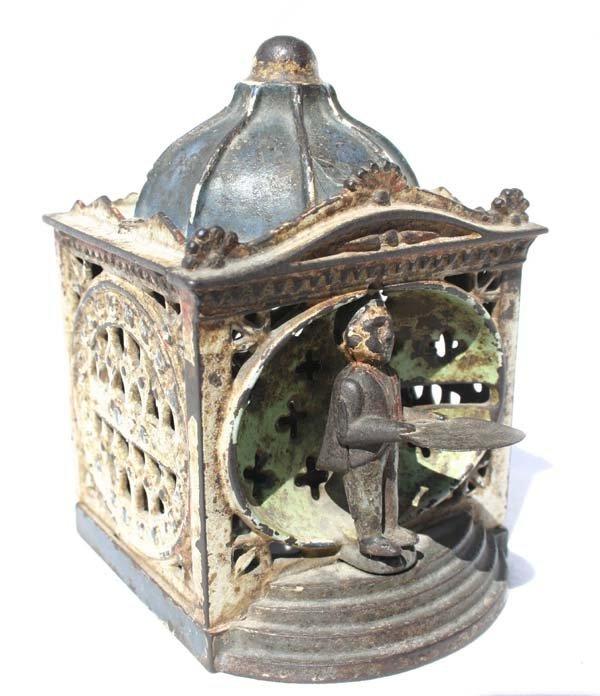 "10: antique cast iron mechanical bank Hall's ""Liliput"""