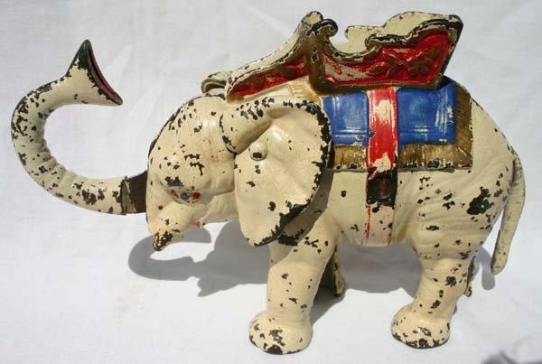 "17: antique cast iron mechanical bank ""Howdah"" Elephant"