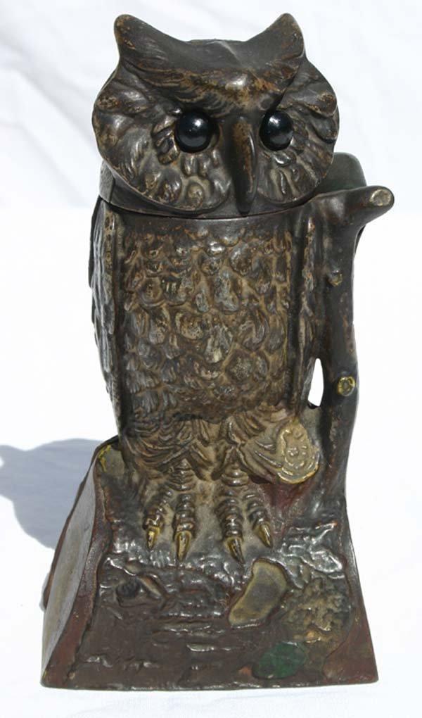 """18: antique cast iron mechanical bank """"Owl"""" w shoe butt"""