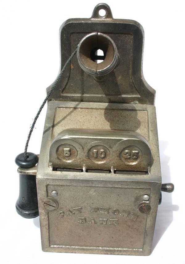 "19: antique cast iron mechanical bank ""Payphone"" ca 192"