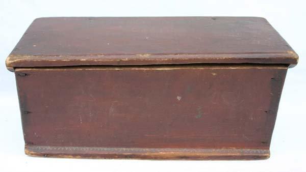 211: miniature 18th C lift top blanket box w snipe hing