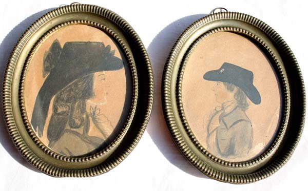 1001: pr of ca 1790-1800 oval framed w/c portraits poss