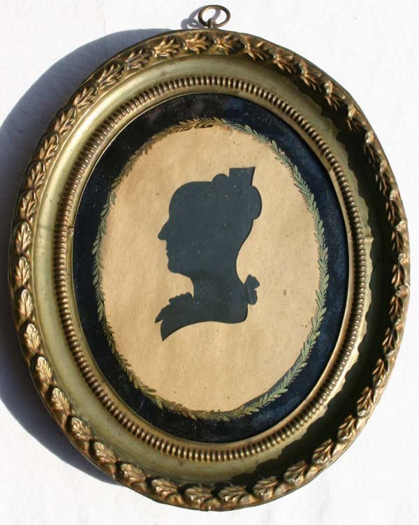 1002: ca 1790 hollow cut silhouette portrait of a lady