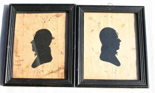 1004: pr of ca 1790-1810 hollow cut silhouette portrait