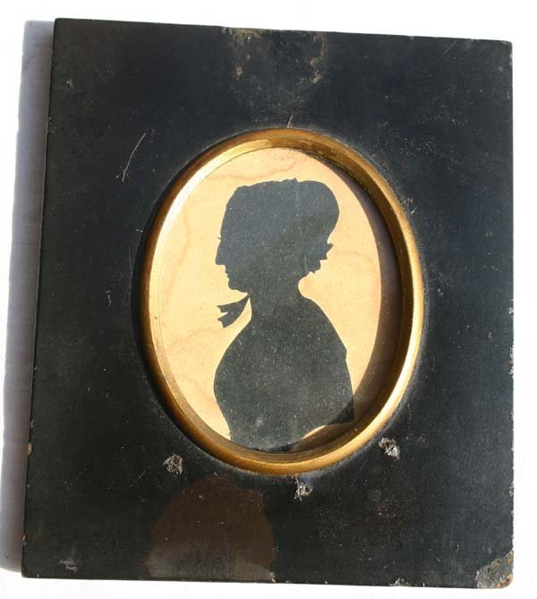 1006: ca 1790 paper mache framed hollow cut silhouette