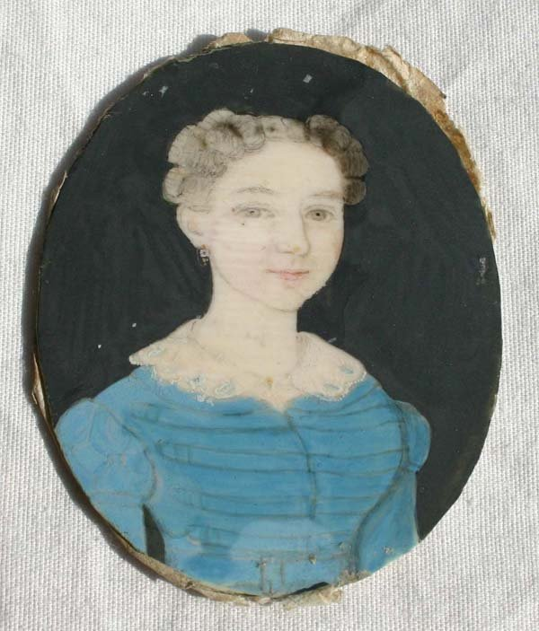 1008: dtd 1841 American mini portrait on ivory of a gir