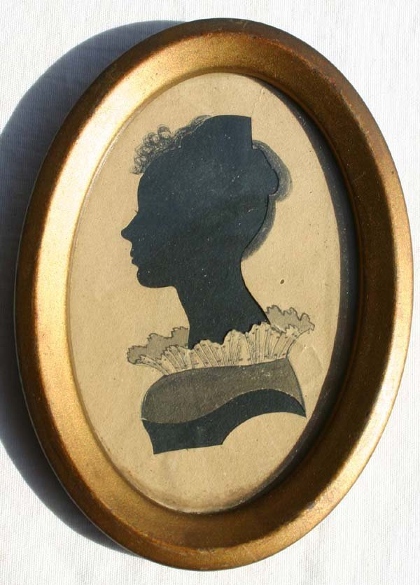 1010: ca 1820 hollow cut & w/c dec portrait of a woman