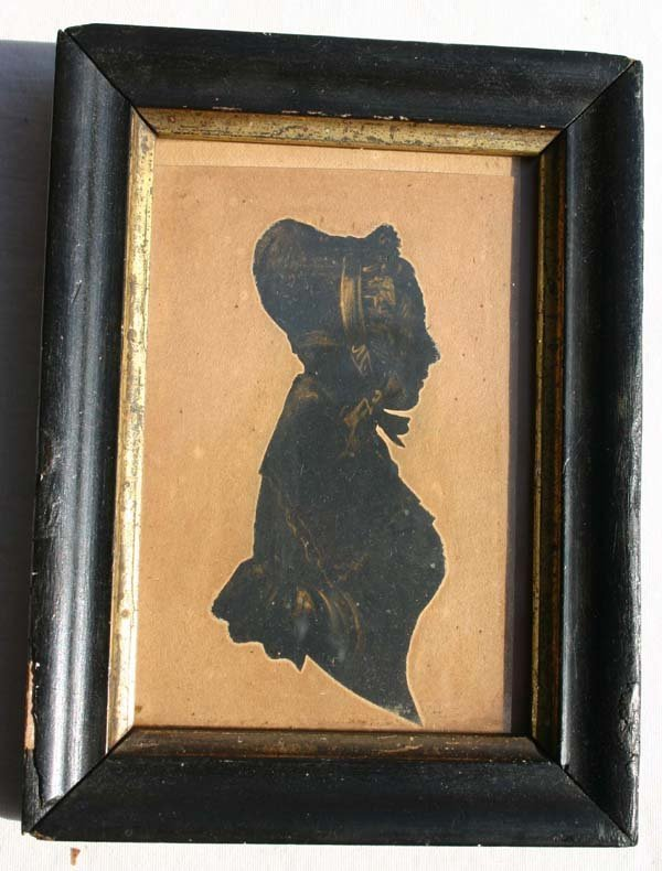 1013: ca 1810 w/c ptd silhouette portrait of a woman in