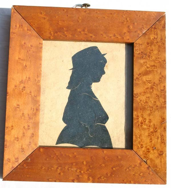 1015: ca 1870 birdseye framed silhouette portrait of a