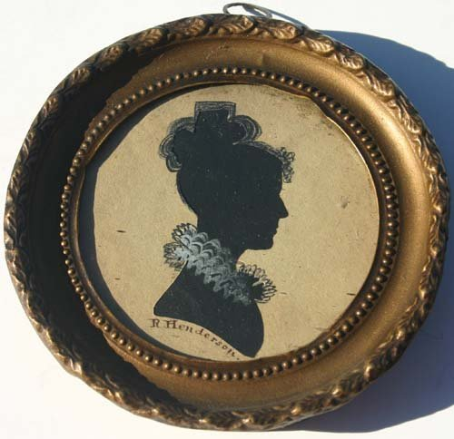 1023: ca 1830 hollow cut silhouette portrait of a woman