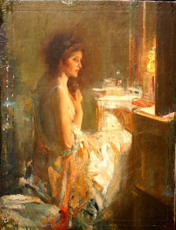 1086: Unsgnd Richard E. Miller portrait of a woman seat