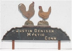 Early 20thC wooden painted trade sign w chickens