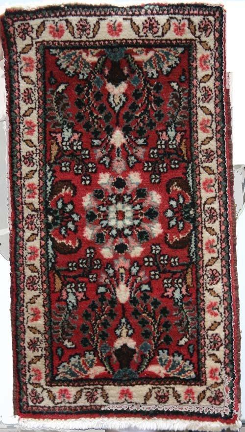 "12: Somers Estate semi-antique 2'8"" x 1'6"" Oriental Mat"