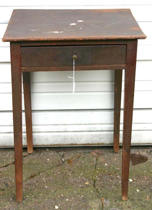 16: period tapered leg 1 drawer stand in desirable old