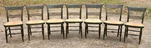 17: set of seven ca 1820's Boston Sheraton fancy chairs