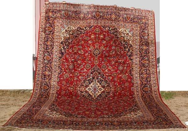 "21: 9'10"" x 13'6"" Persian Kashan Oriental Rug"
