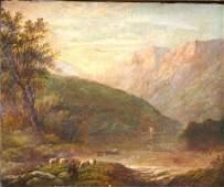 o/c Hudson River school landscape w figures, shee