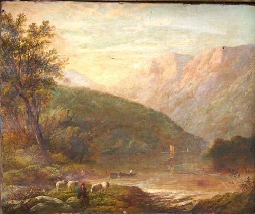 174A: o/c Hudson River school landscape w figures, shee