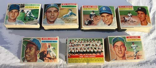 1011: lot of 1956 Topps Baseball Cards incl Hall of Fam