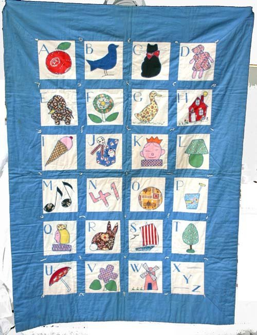 1015: Wonderful dtd 1941 hand sewn folky pictoral alpha