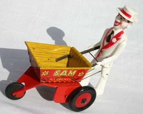 "1021: Marx tin wind up & hard plastic ""Sam The Gardner"""