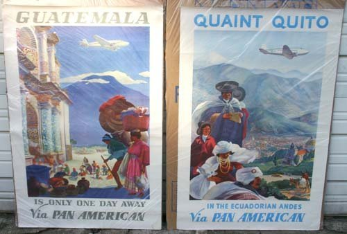 1199: lot of 4 Pan Am Airlines Travel Posters - 1930's+